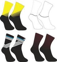 Cycling socks short calf high sock vector