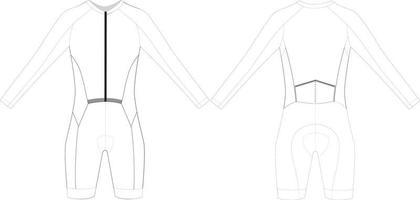 traje de ciclismo personalizado de manga larga en blanco vector