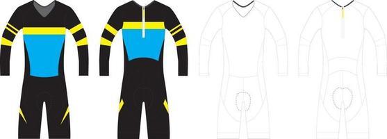 traje de ciclismo de manga larga vector