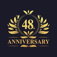 48th Anniversary Design, luxurious golden color 48 years Anniversary logo.