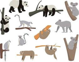 Set of animals living on trees. vector