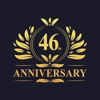 46th Anniversary Design, luxurious golden color 46 years Anniversary logo.
