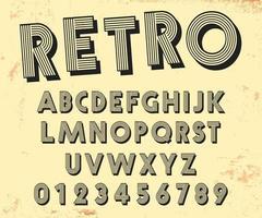 plantilla de alfabeto de diseño retro de línea. conjunto de números y etters de estilo vintage. ilustración vectorial vector