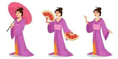 Geisha in different poses.