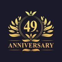 Diseño de 49 aniversario, lujoso logo de aniversario de 49 años de color dorado. vector