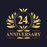 Diseño del 24 aniversario, lujoso logo de aniversario de 24 años en color dorado vector