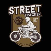 motocycle street tracker on the ride.premium vector