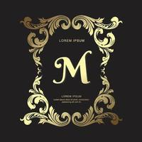 Vintage gold design crest template royal Ornament, Elegant and luxury heraldry emblem monogram logotype Vector design