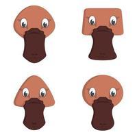 conjunto de ornitorrincos de dibujos animados. vector