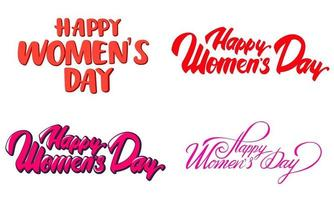 Happy Women's Day lettering collection. vector