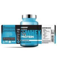 etiqueta de botella de suplemento de proteína, diseño de plantilla de paquete, diseño de etiqueta, plantilla de etiqueta de diseño simulado