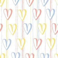 Patrón de día de San Valentín sin costuras sobre fondo de rayas con mano dibujar corazón lindo multicolor