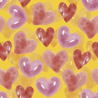 seamless hand draw watercolour heart shape pattern on yellow background vector