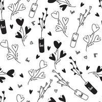 Patrón sin fisuras del día de San Valentín sobre fondo blanco con mano dibujar corazón árbol, planta en un jarrón