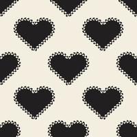 seamless valentine day pattern background with monochrome heart shape with heart line frame vector