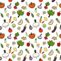 Seamless background with pictures of fruits and vegetables vector