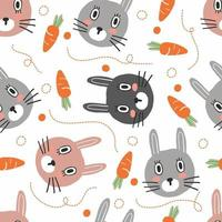 seamless hand draw rabbit and carrot pattern background vector