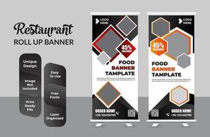 Modern food roll up banner design template set vector