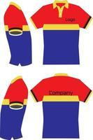 camisa de polo simulacro de vista frontal y posterior vector