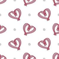seamless valentine day pattern on white background with heart and glitter element vector