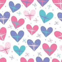 seamless valentine pattern background with colourful hand draw heart shape vector