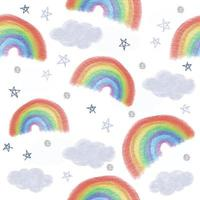 seamless hand draw sky pattern background with glitter rainbow and star vector