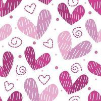 seamless monochrome pink heart shape with glitter polka dot pattern background vector