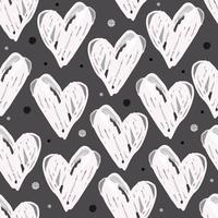 seamless monochrome heart shape with glitter polka dot pattern on gray background vector