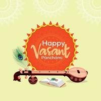 Vasant Panchami creative header with Saraswati veena vector