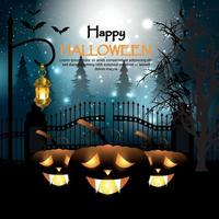 Halloween mystery graveyard background with pumpkins vector