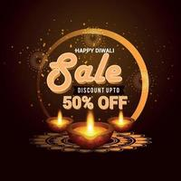 Happy Diwali festival with candles celebration vector