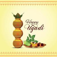 Happy gudi padwa design concept with realistic kalash and sweets vector