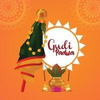 Happy gudi padwa event greeting card with creative kalash vector