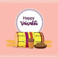 feliz celebración de diseño plano vaisakhi vector
