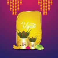 Happy gudi padwa design concept con kalash realista y dulces