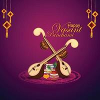 Veena for happy vasant panchami celebration background vector