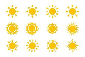 Vector cartoon yellow sun. Shining light rays to heat the summer. Isolated on white background