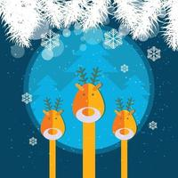 Merry christmas reindeer and trees vector