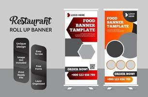 Creative Restaurant food Roll-up Banner Bundle Templates set vector