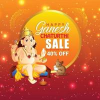 Happy ganesh chaturthi design with background vector