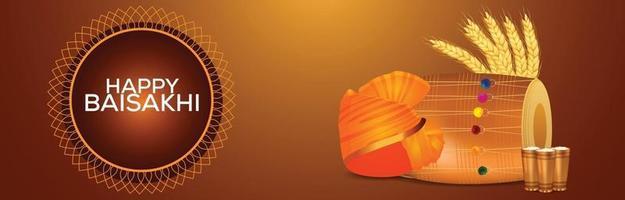 feliz tarjeta de felicitación vaisakhi con ilustración vector