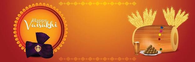 banner o encabezado de celebración del festival sij indio vaisakhi vector