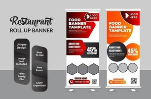 Food and Restaurant roll up banner design template set vector