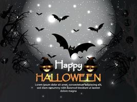 Halloween bats and pumpkins vector