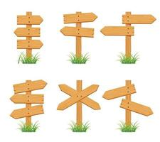 wooden sign set collection vector