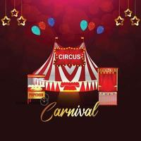 Carnival party greeting card on red background vector