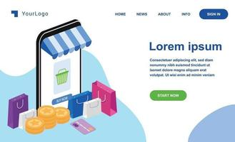 shopping e-commerce isometric landing page vector