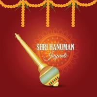 tarjeta de felicitación de celebración de hanuman jayanti y fondo vector