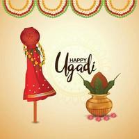 Happy ugadi illustration greeting card vector