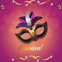 Carnival party greeting card with mask on purple background vector